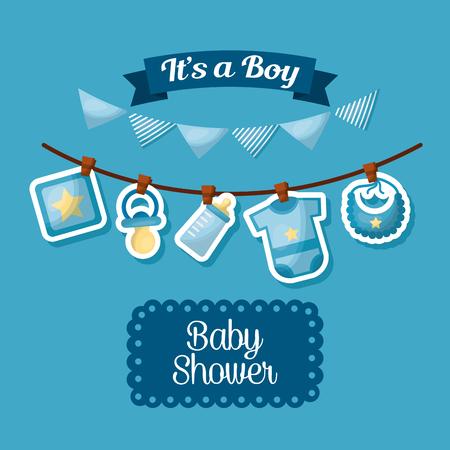 Ilustración de baby shower celebration its a boy happy born pennants babe clothes vector illustration - Imagen libre de derechos