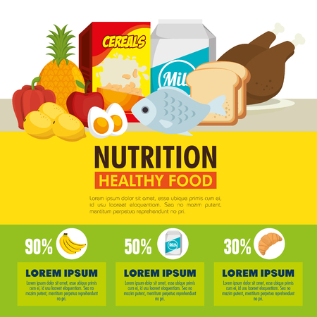 A group of nutritive food infographic vector illustration design