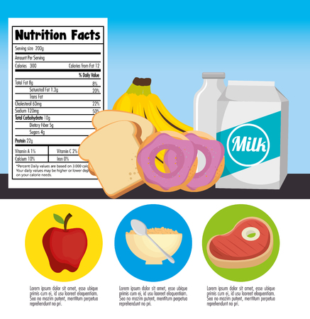A group of nutritive food with nutrition facts vector illustration design