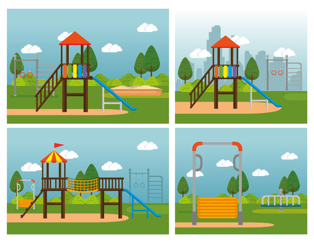 Illustration for Park with kid zone scene vector illustration design - Royalty Free Image