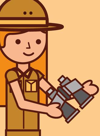 portrait safari girl explorer holds binoculars vector illustration