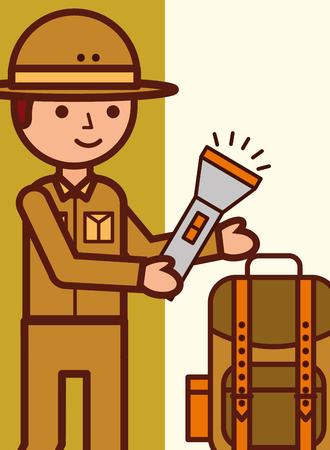 safari boy explorer with lantern and rucksack vector illustration