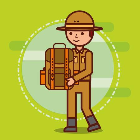 safari boy explorer holds backpack vector illustration
