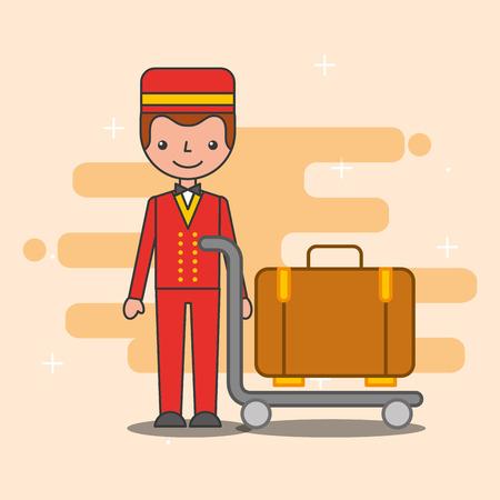 Illustration pour hotel service bellboy trolley luggage vector illustration - image libre de droit