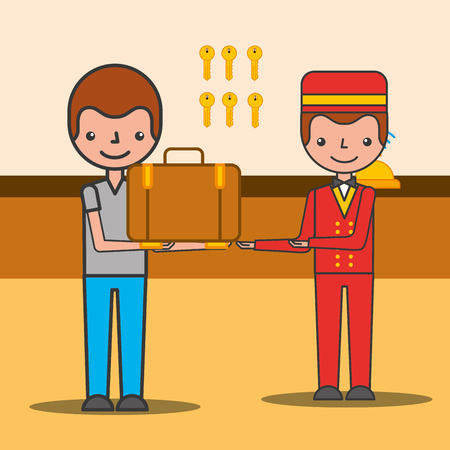 Illustration pour Customer man with suitcase and bellboy hotel service vector illustration - image libre de droit