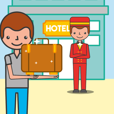 Illustration pour Customer man with suitcase and bellboy in hotel vector illustration - image libre de droit