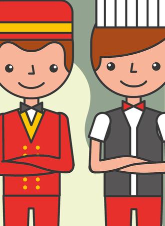 Illustration pour hotel service bellboy and waiter restaurant staff vector illustration - image libre de droit
