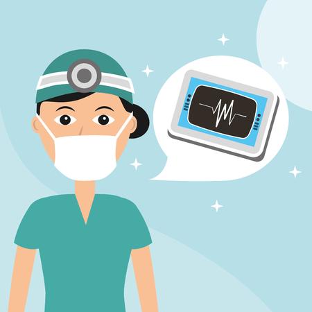 Ilustración de doctor in mask monitoring cardiology hospital worker professional vector illustration - Imagen libre de derechos