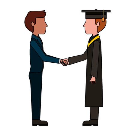 teacher man and graduate student handshake vector illustration