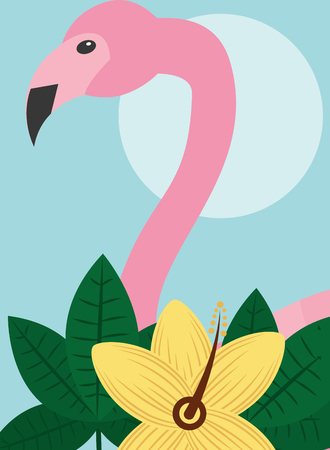 Summer time tropical flamingo animal bird exotic flower vector illustration