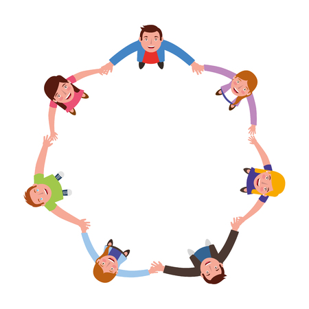 Ilustración de group of people around circle from looking up vector illustration - Imagen libre de derechos