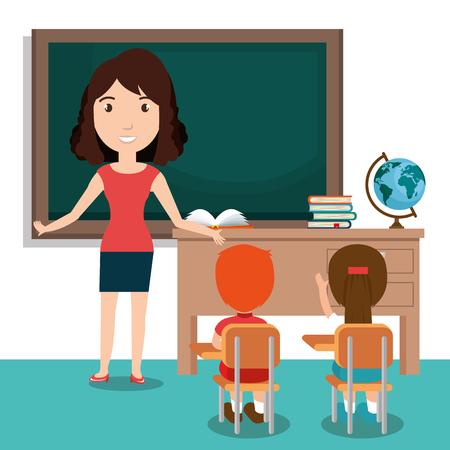 Illustration pour woman teacher with students in the classroom vector illustration design - image libre de droit