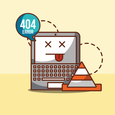 laptop with speech bubble announce 404 error page not found vector illustration