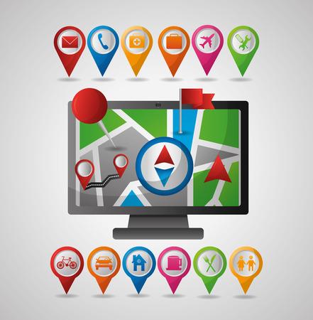 Illustration pour computador pin map compass directions gps navigation application vector illustration - image libre de droit