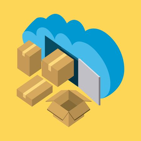cloud storage open and closed boxes open data vector illustration isometric