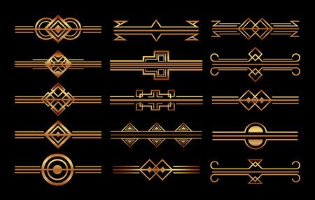 Ilustración de set of art deco frames and borders vignette decoration vector illustration - Imagen libre de derechos