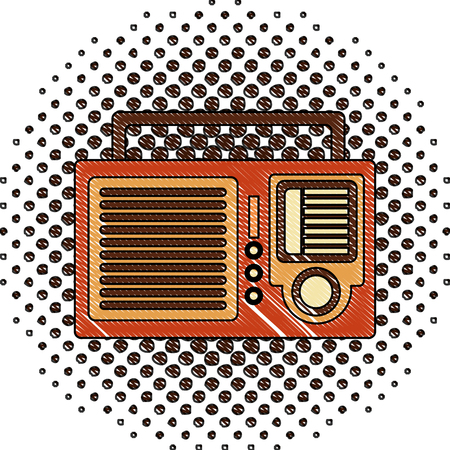 Illustration pour retro vintage radio sound voice image vector illustration  halftone drawing - image libre de droit