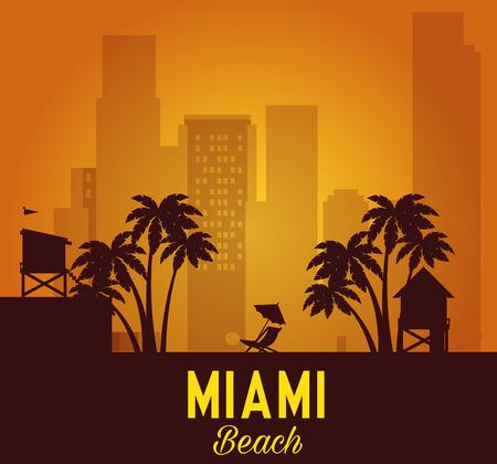 Illustration pour miami beach cityscape scene vector illustration design - image libre de droit