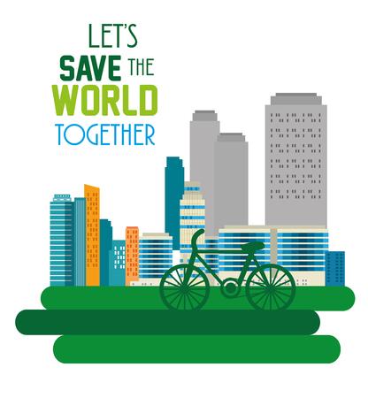buildings ecology green city scene vector illustration design