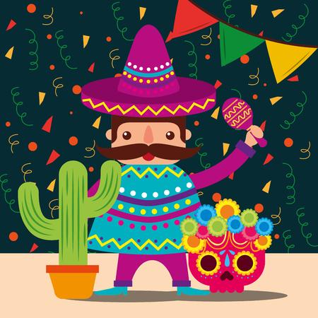 Illustration pour mexican man with hat and poncho cactus skull decoration confetti vector illustration - image libre de droit