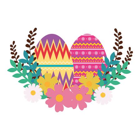 Ilustración de eggs paint easter with floral decoration vector illustration design - Imagen libre de derechos
