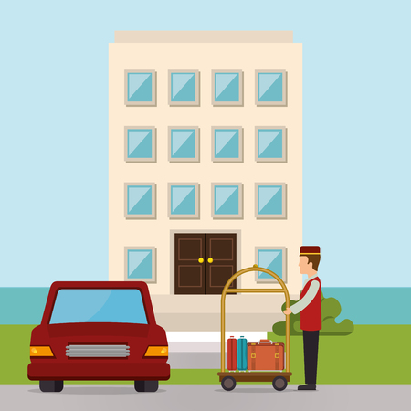 Illustration pour bellboy working in the hotel character vector illustration design - image libre de droit