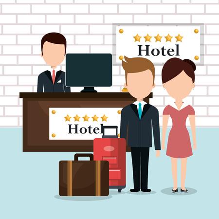 Illustration pour hotel workers avatars characters vector illustration design - image libre de droit