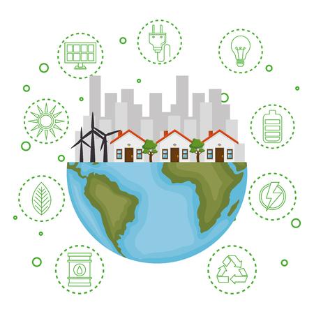 Illustration pour house with save the world icons vector illustration design - image libre de droit