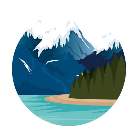 Ilustración de mountains with snow and river scene vector illustration design - Imagen libre de derechos