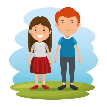 Illustration pour couple of kids characters vector illustration design - image libre de droit