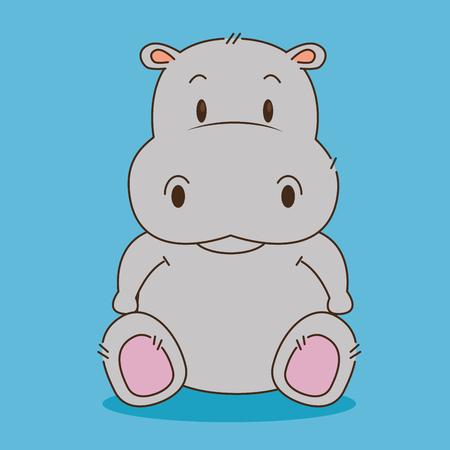 Ilustración de cute little hippo character vector illustration design - Imagen libre de derechos