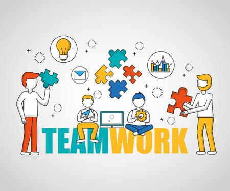 Ilustración de people teamwork boys sitting holding puzzle pieces vector illustration - Imagen libre de derechos
