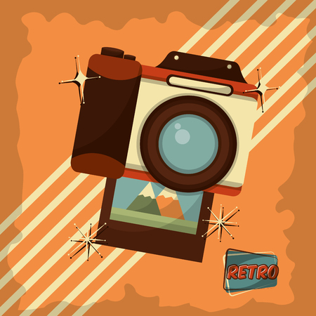 retro vintage photo camera device stripes background vector illustration