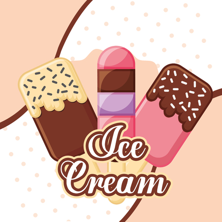 ice cream and lollipop chips label vector illustration