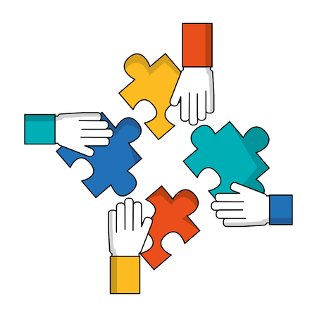 Ilustración de hands with puzzle pieces isolated icon vector illustration design - Imagen libre de derechos