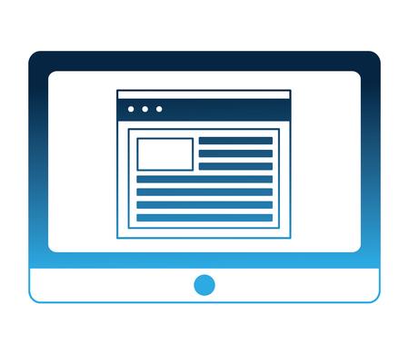 Illustration pour tablet computer and website document data vector illustration neon blue - image libre de droit