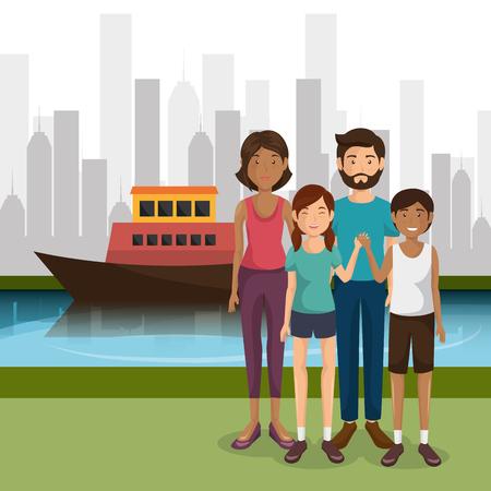 Illustration pour family members outdoors characters vector illustration design - image libre de droit