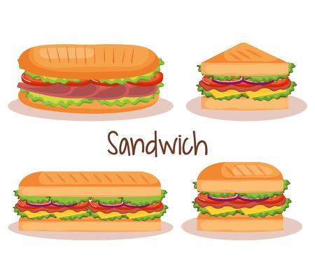 Vektor für delicious sandwich fast food set icons vector illustration design - Lizenzfreies Bild