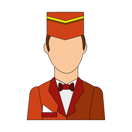 Illustration pour bellboy hotel worker isolated icon vector illustration design - image libre de droit