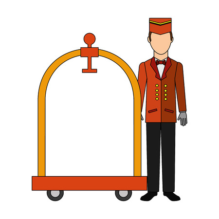 Illustration pour bellboy hotel worker with cart hotel isolated icon vector illustration design - image libre de droit