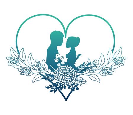 Foto de married couple silhouette with floral decoration in heart vector illustration design - Imagen libre de derechos