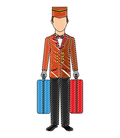 Illustration pour hotel bellboy carrying suitcases service vector illustration drawing - image libre de droit