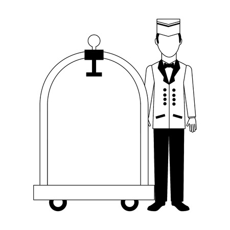 Illustration pour hotel service bellboy with luggage trolley vector illustration black and white - image libre de droit