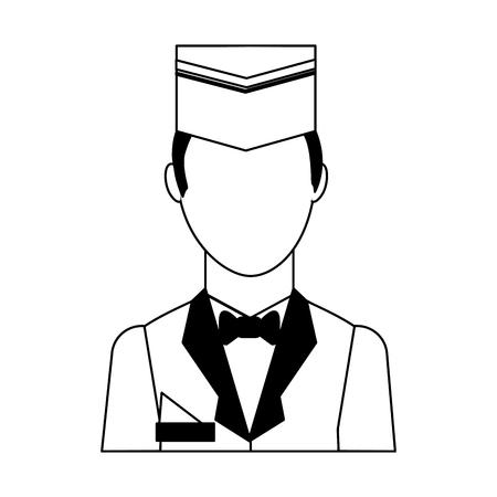 Illustration pour hotel staff bellboy in uniform portrait vector illustration black and white - image libre de droit