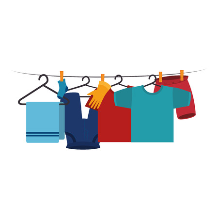 Illustration for clothes drying on wire vector illustration design - Royalty Free Image