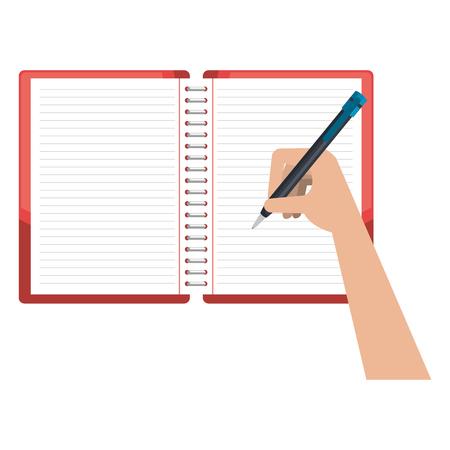 Ilustración de hand writing in notebook school education vector illustration design - Imagen libre de derechos