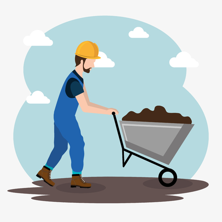 Illustration for construction worker with under construction icons vector illustration design - Royalty Free Image