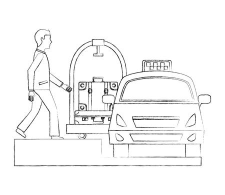 Illustration pour hotel bellboy suitcase luggage trolley ad taxi service vector illustration - image libre de droit