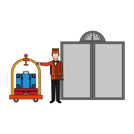 Illustration pour hotel bellboy and luggage trolley suitcase elevator doors vector illustration - image libre de droit