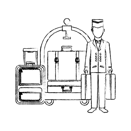 Illustration pour bellboy hotel worker with cart hotel and suitcases isolated icon vector illustration design - image libre de droit